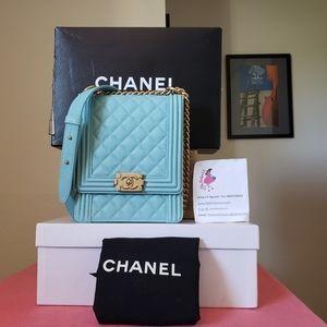 Chanel boy caviar north south blue bag